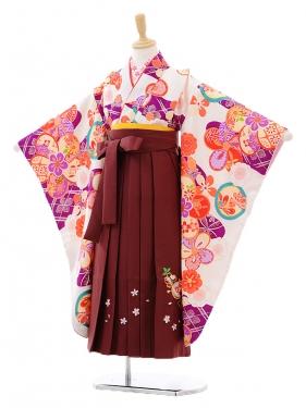 女児袴(7女)7275白地に紫雲取梅×エンジ袴