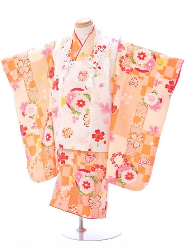 七五三(3歳女)SH007正絹 白/オレンジ 市松