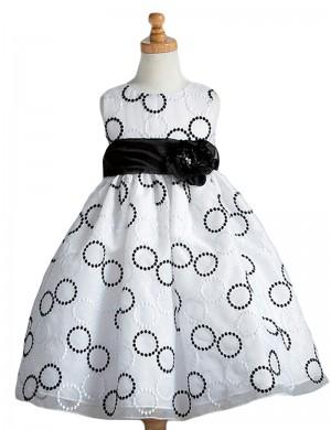 130cm/モノトーンリング柄ドレス872
