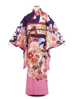 ジュニア着物 9016 紫地/四季の花々