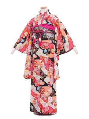ジュニア着物 9003 黒地/絞り調・四季の花々