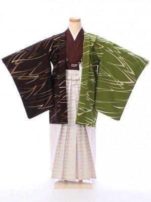 ジュニア袴男児 BV056 茶×抹茶/白銀