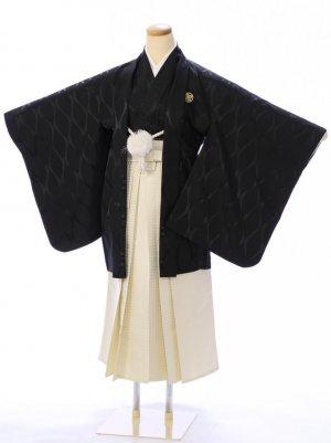 ジュニア袴男児 BV041 ゆめかんざし 黒立涌文様/クリーム袴