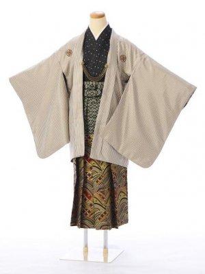 ジュニア袴男児 BV008A ベージュ×ゴールド 縞/赤×ゴールド