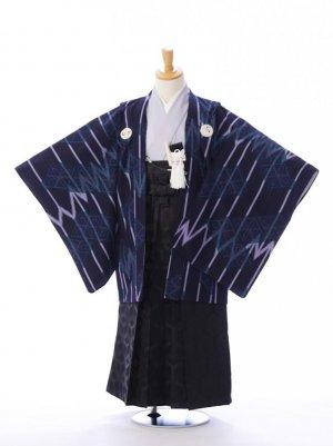 ジュニア袴男児 BV017 紺地 矢絣/黒地 亀甲紋