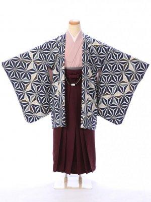 ジュニア袴男児 BV059 紺 麻の葉/茶 袴