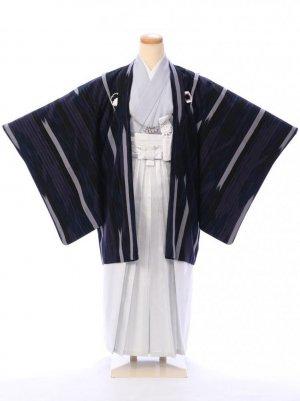 ジュニア袴男児 BV051 紺黒 矢絣 刺繍紋/縦縞