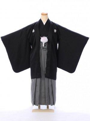 ジュニア袴男児 BV058 黒紋付/縞袴