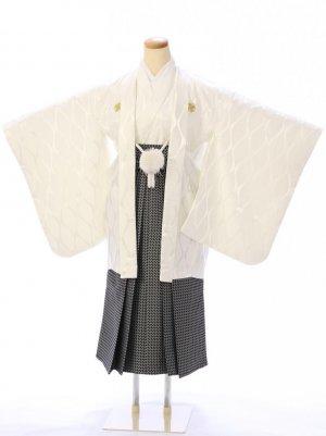 ジュニア袴男児 BV045 ゆめかんざし 白立涌文様/黒袴
