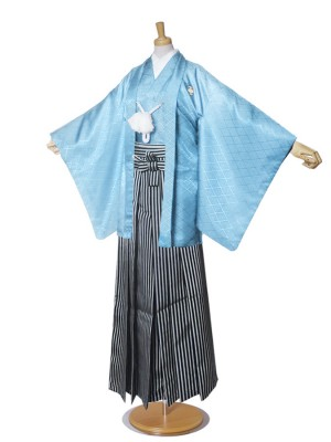 ジュニア 紋付 羽織 袴 卒業式 水色 縞
