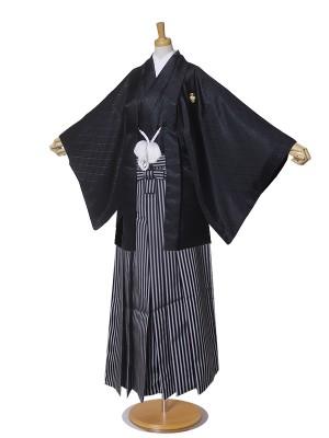 ジュニア 黒紋付 羽織 袴 卒業式 違い鷹の羽
