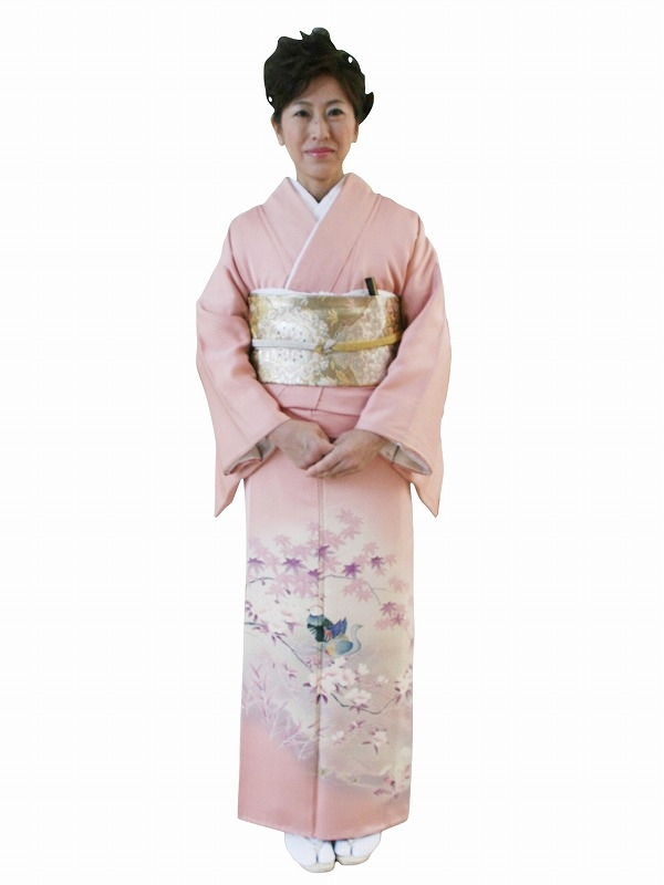 色留袖0251ピンク地花とおしどり