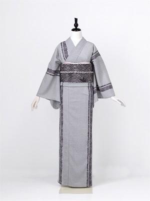 夏小紋0002 グレー(化繊 単衣)