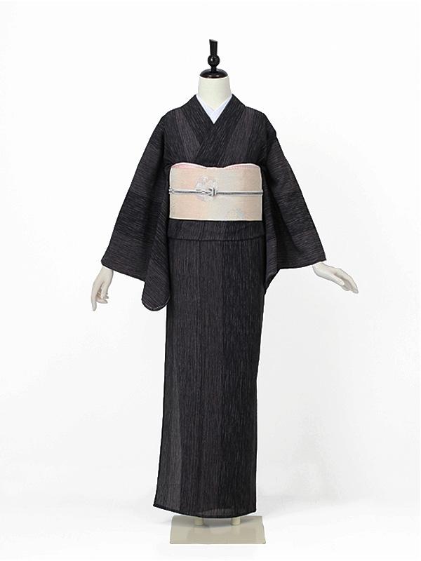 夏小紋0001 黒(化繊 単衣)