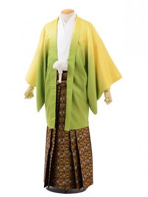 卒業式成人式袴レンタル219 イエローぼかし紋服×黒ゴールド袴