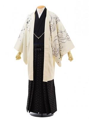 卒業式成人式袴レンタル216 JAPANSTYLE オフホワイト虎×紫袴