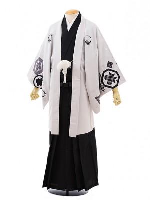 卒業式成人式袴レンタル218 JAPANSTYLE うすグレー紋×黒袴