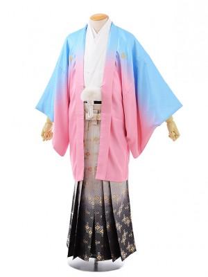 卒業式成人式袴レンタル223 水色ぼかし紋服×白グレーぼかし袴