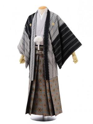 【馬乗型】男袴レンタル227 黒グレー変わりストライプ×グレーグリーン袴