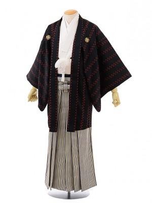 卒業式成人式袴レンタル225 黒地変わりストライプ紋服×白ストライプ袴