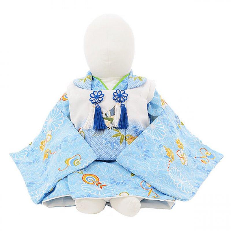 男児ベビー着物 0025 水色地梅菊×白被布/セパレート