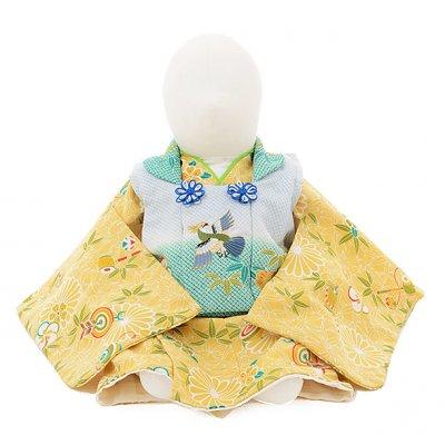 男児ベビー着物 0026 からし色梅菊×水色被布/セパレート