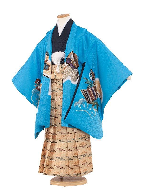 七五三・卒園式袴レンタル(7男)7002 水色/兜