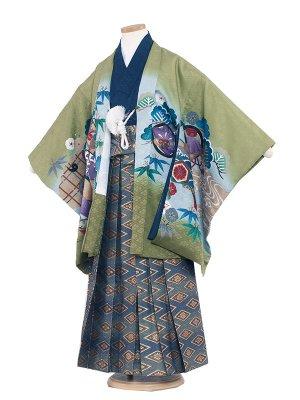 七五三レンタル(7歳男袴)7005 グリーン/鷹と束のし