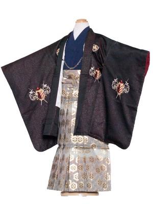 七五三レンタル(7歳男袴)7011 黒ラメ/ひさかた