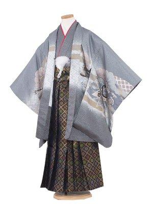 七五三レンタル(7歳男袴)7015 グレー/雲竜