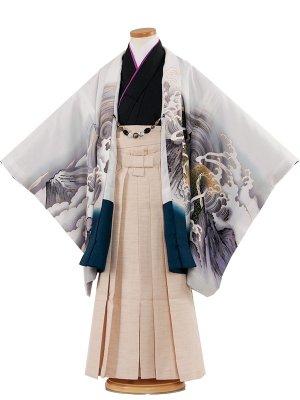 七五三レンタル(7歳男袴)7034 白地/龍と荒波