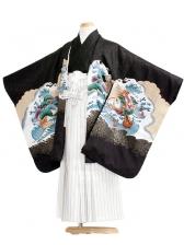 七五三(7男)7006 黒/鷹と波70cm