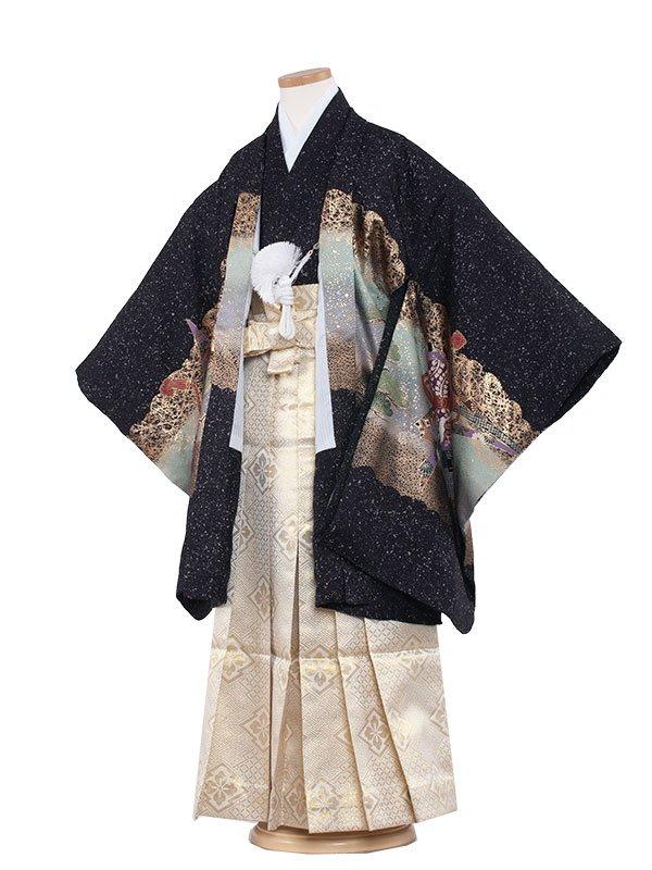 七五三・卒園式袴レンタル(7男)7022 黒地鷹