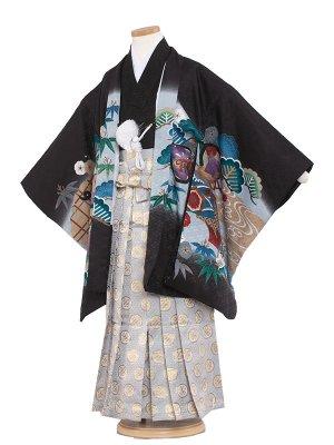 七五三レンタル(7歳男袴)7008 黒/鷹と束のし
