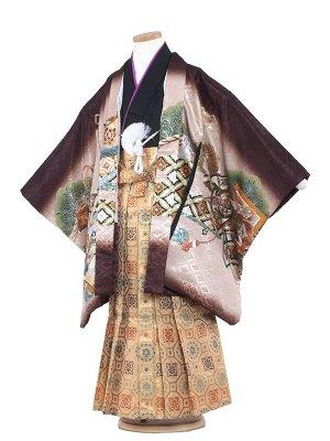 七五三レンタル(7歳男袴)7040 茶地/鷹と小槌