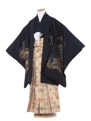 七五三レンタル(7歳男袴)7021 黒地鷹と金松
