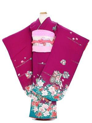 【正絹】七五三レンタル(7歳女の子袋帯)  E712 赤 御所車