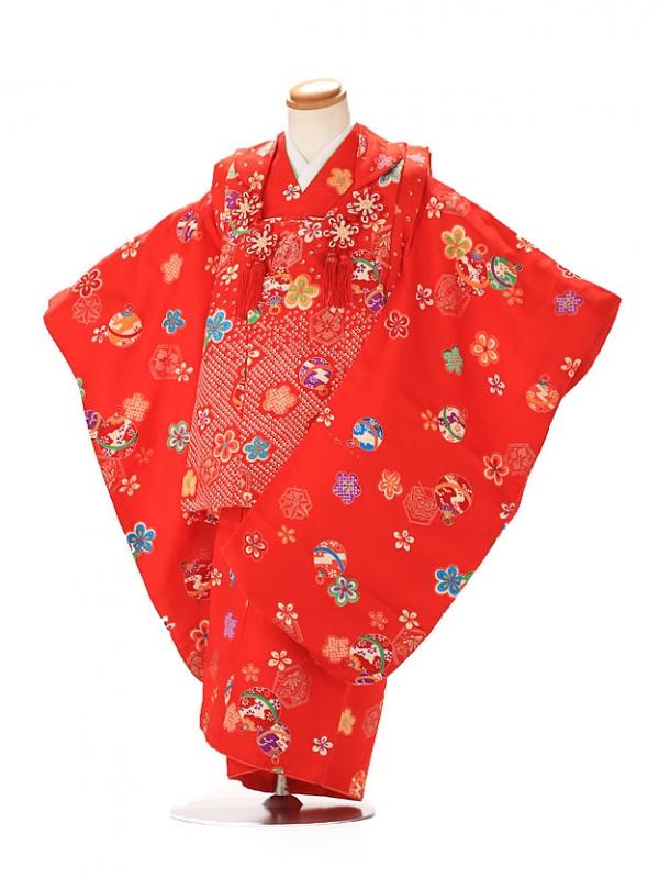 七五三レンタル(3歳女の子被布) 赤 E302