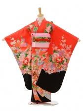 七五三(7歳女結び帯)A075 赤裾黒熨斗花車(