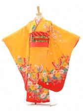 七五三(7歳女結び帯)A074 黄色裾赤蝶(正絹)