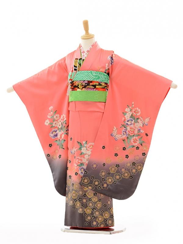 七五三レンタル(7歳女結び帯)A087 ピンク花に蝶(正絹