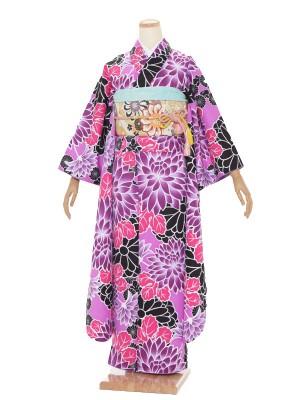 振袖 成人式 H016 黒 紫 菊