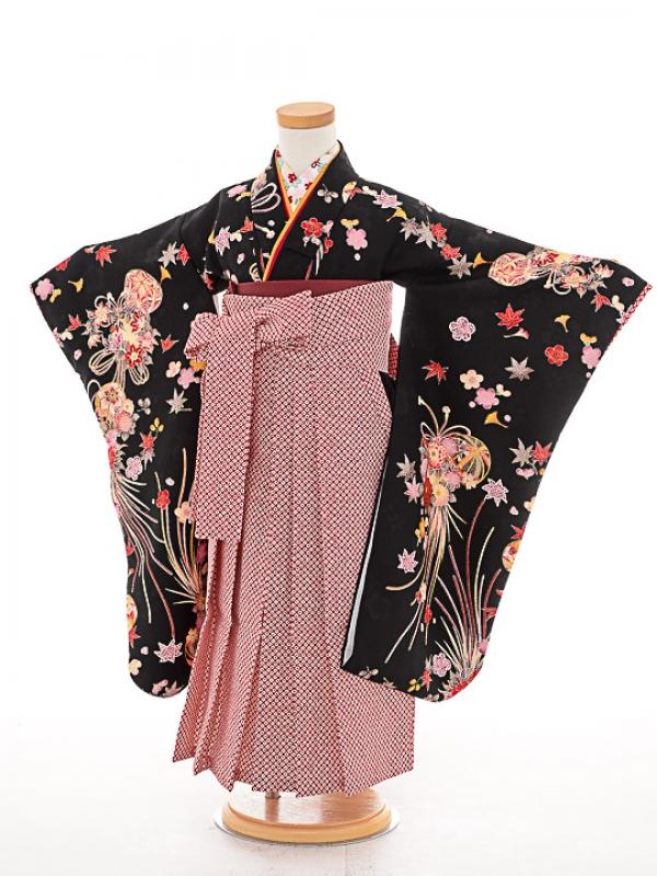 七五三(3歳女袴)女児袴sfts033黒手鞠/赤鹿