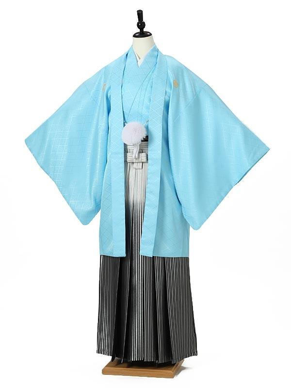 男性袴0001 水色紋付
