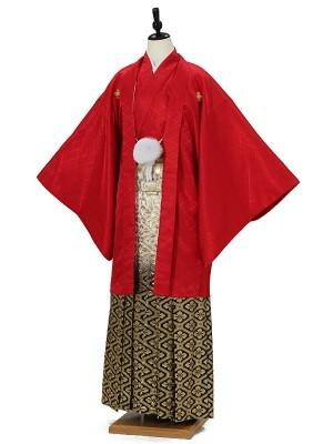 成人式卒業式男性用袴0015 赤 黒金ぼかし