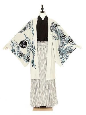 成人式卒業式男性用袴0013 白 青竜