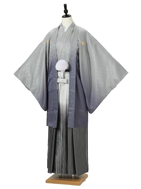 男性用袴0011 グレーぼかし紋付