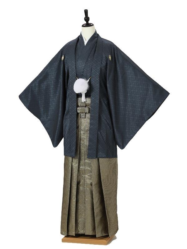 成人式卒業式男性用袴0016 紺 黒金
