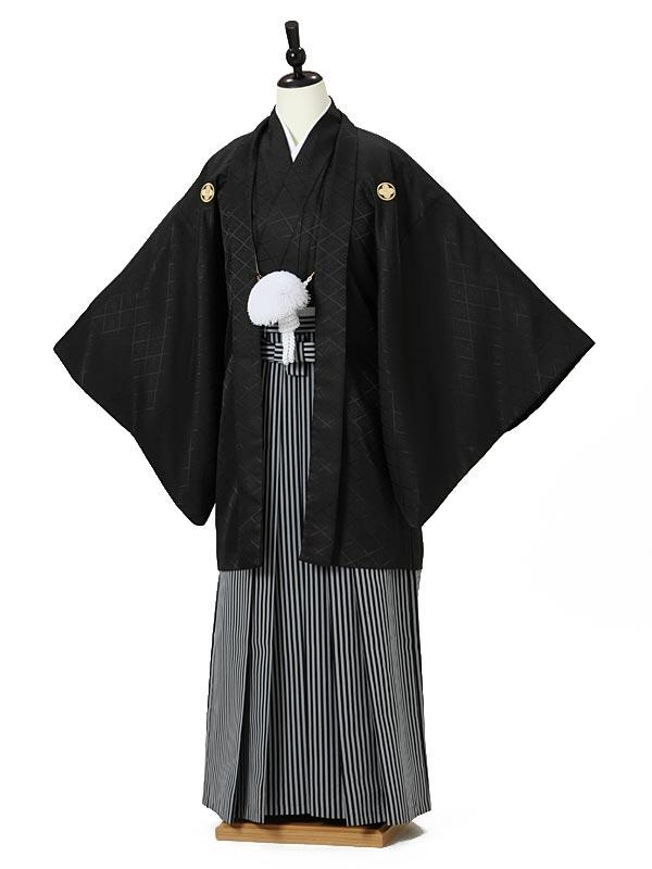 成人式卒業式男性用袴0004 黒紋付