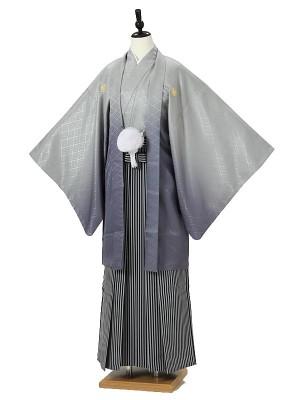 成人式卒業式男性用袴0027 グレーぼかし紋付